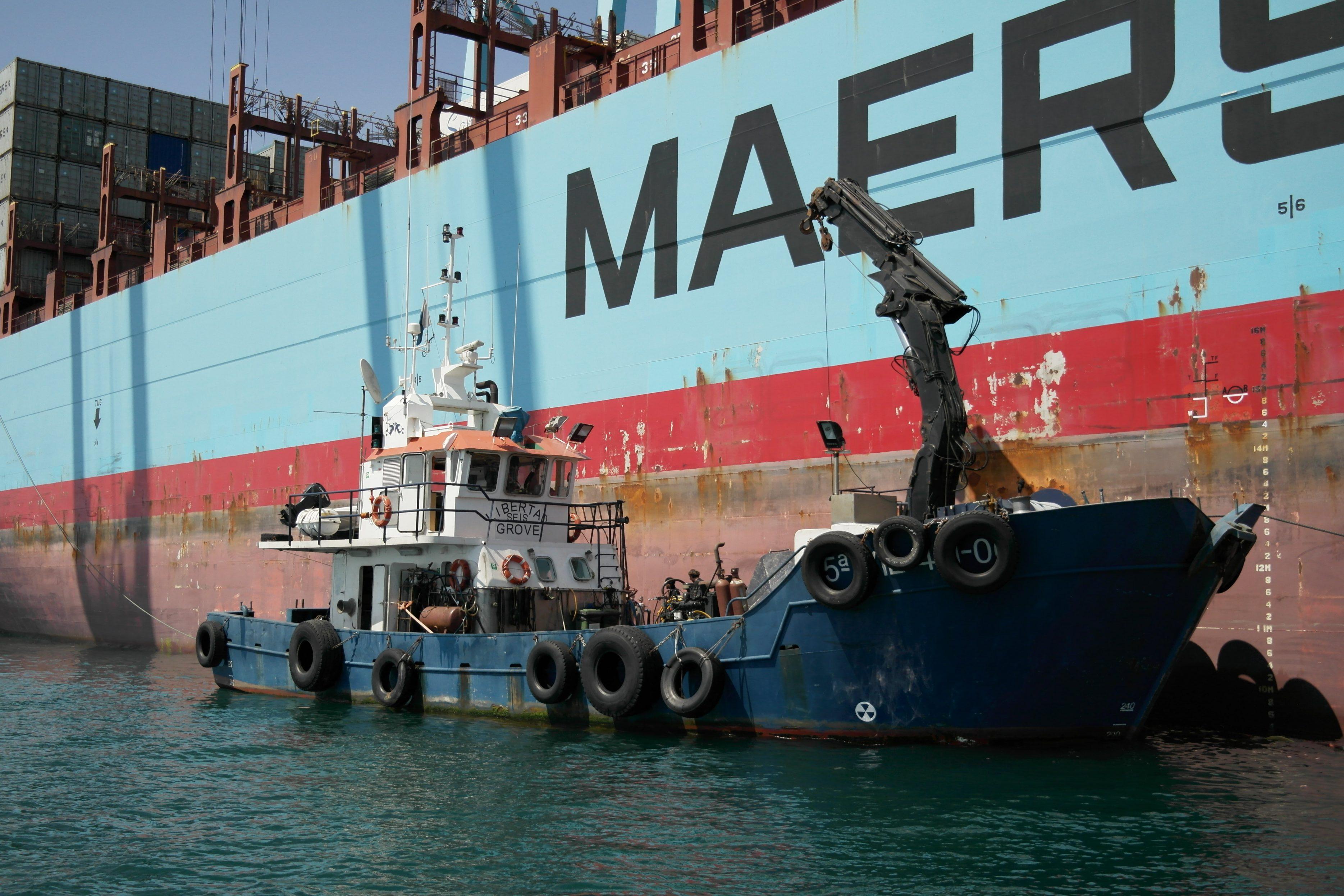 Workboat on Maersk Vessel